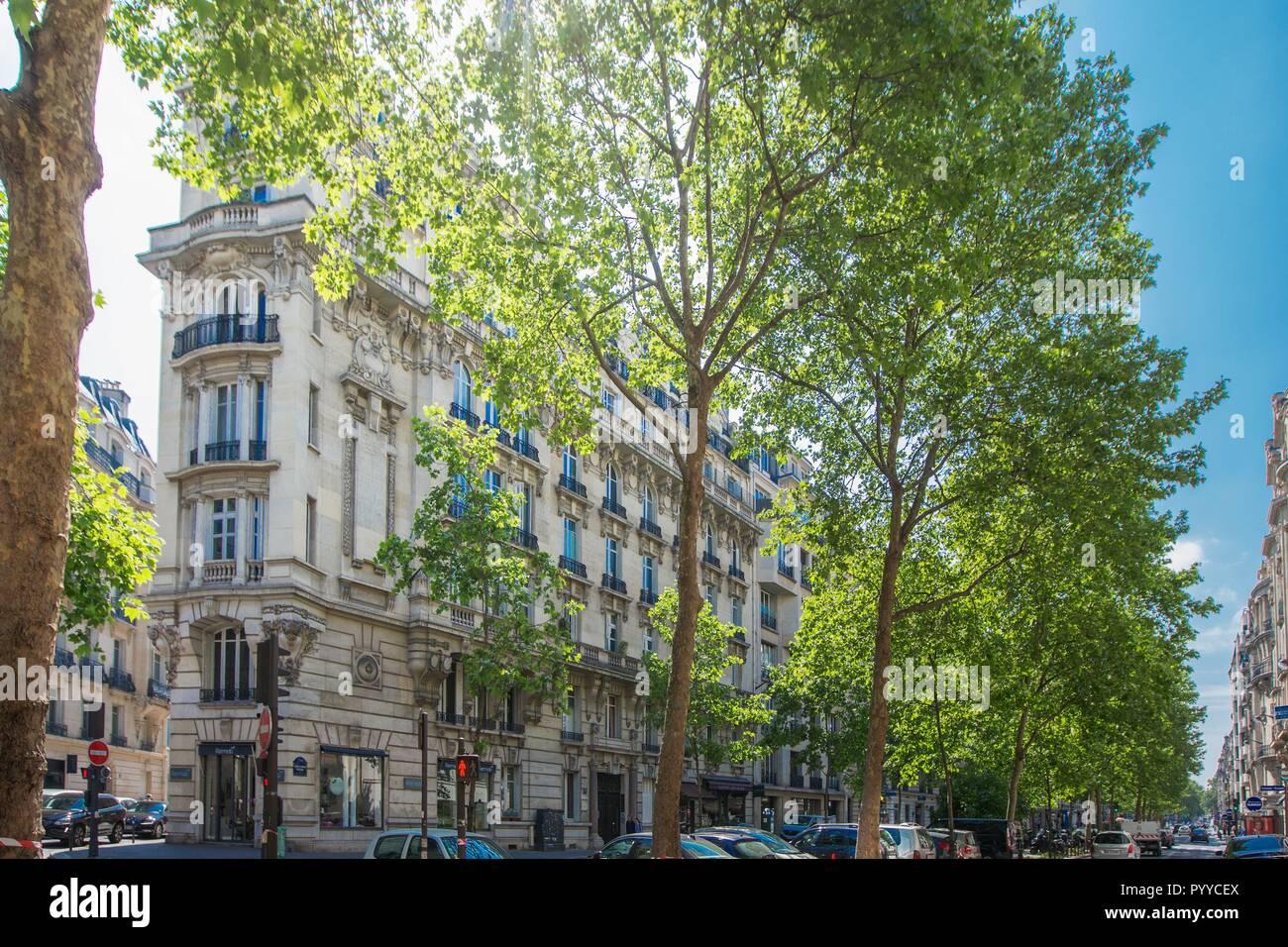 France, Ile de France, Paris 7ème arrondissement, Paris, 17 boulevard Raspail, post-haussmanniens, bâtiment en pierre de taille, Banque D'Images