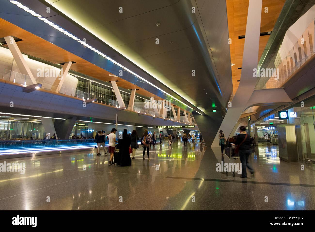 L'un des halls de l'Aéroport International Hamad à Doha, Qatar Banque D'Images