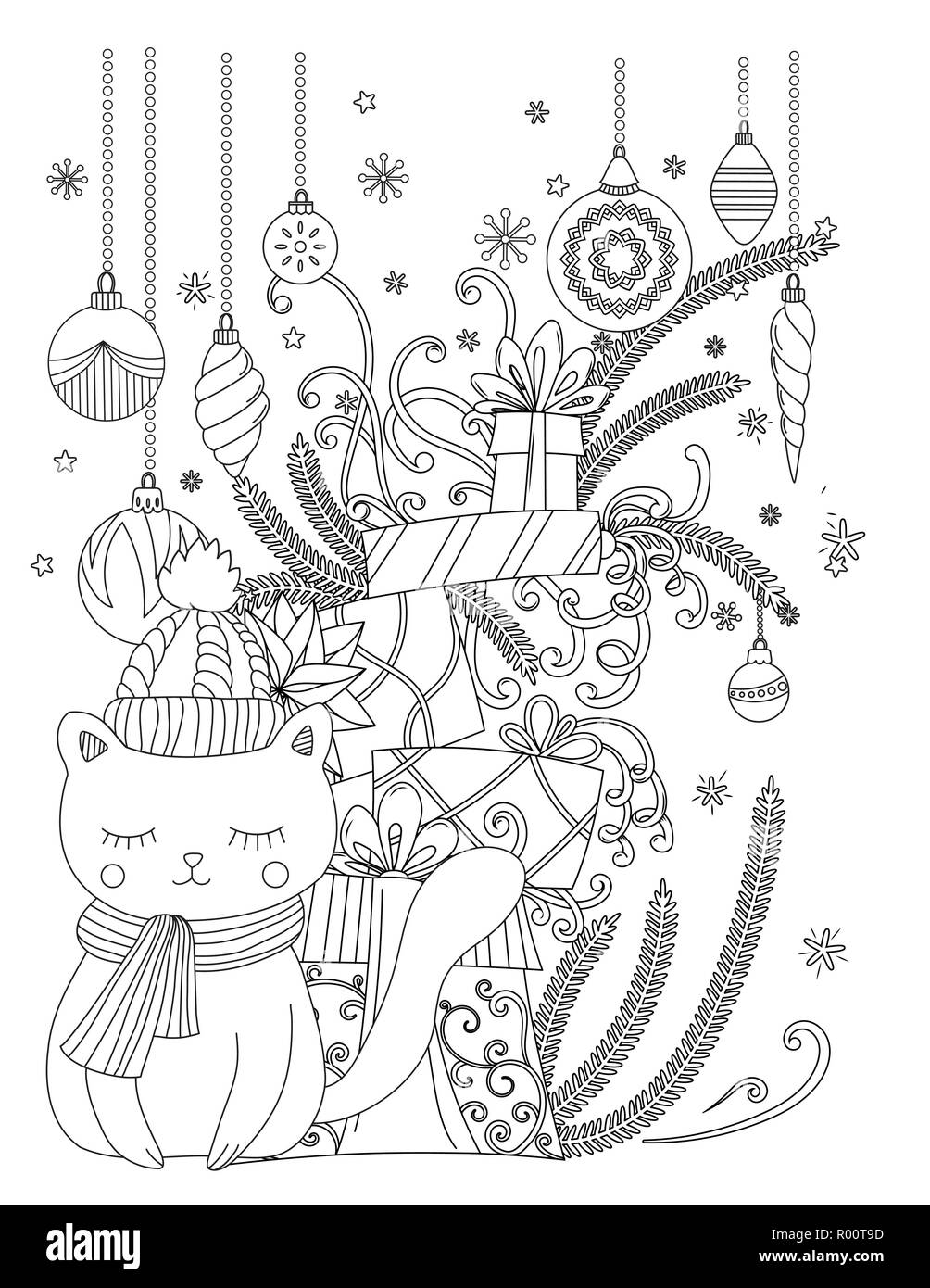 Coloriage Chat Cadeau.Coloriages De Noel Pour Les Enfants Et Les Adultes Chat