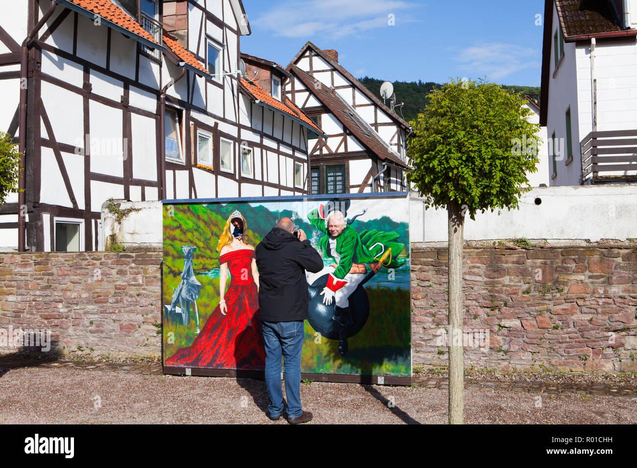 Ville de Bodenwerder, berceau du Baron Muenchhausen, Weserbergland, Basse-Saxe, Allemagne, Europe Banque D'Images