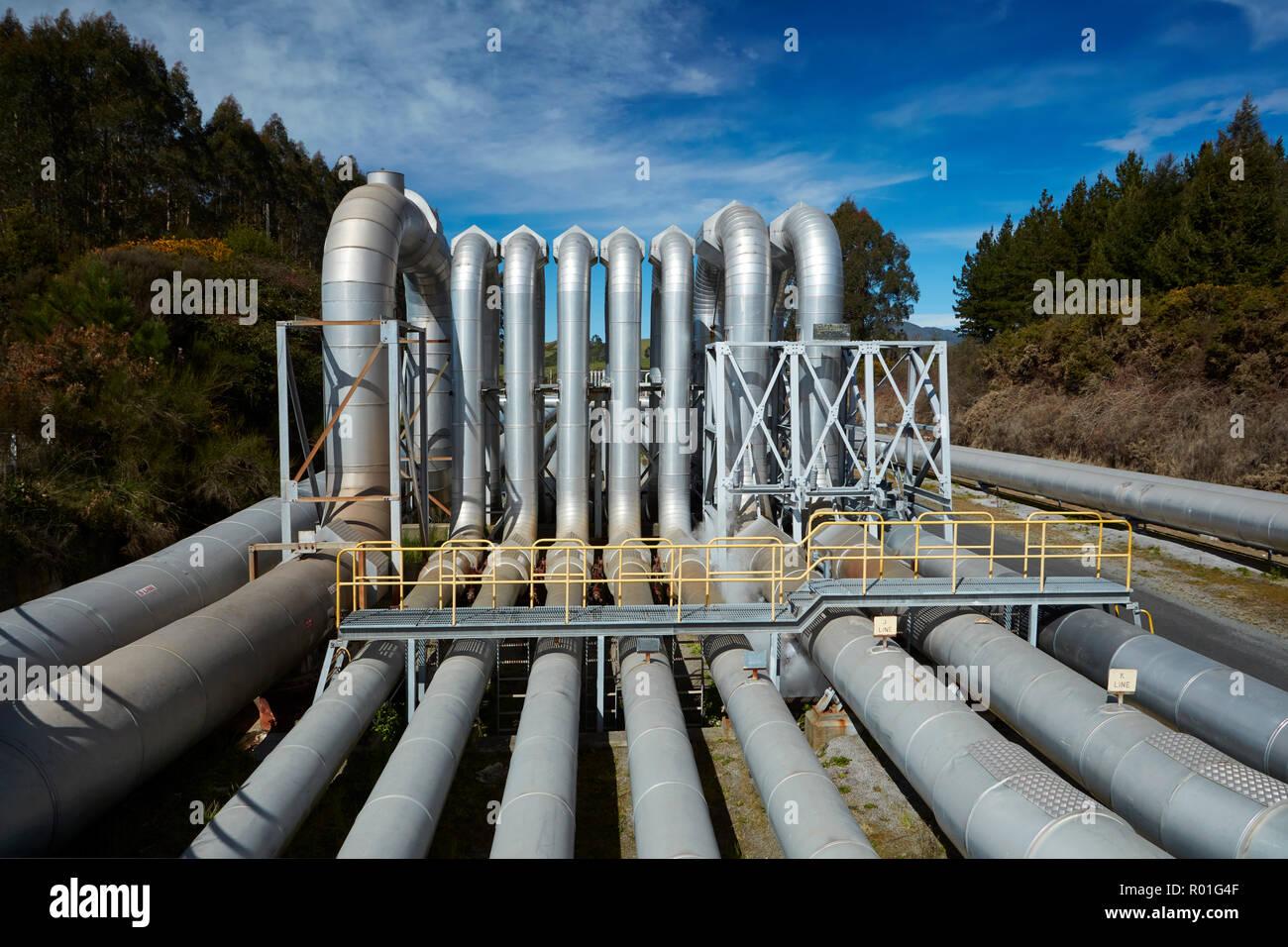 Centrale géothermique de Wairakei, près de Taupo, île du Nord, Nouvelle-Zélande Photo Stock