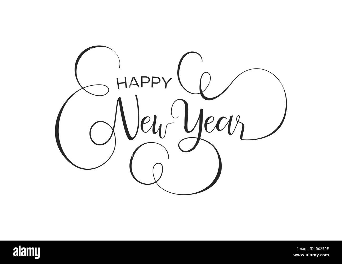 Bonne Année Carte De Voeux Calligraphiques Ou Partie