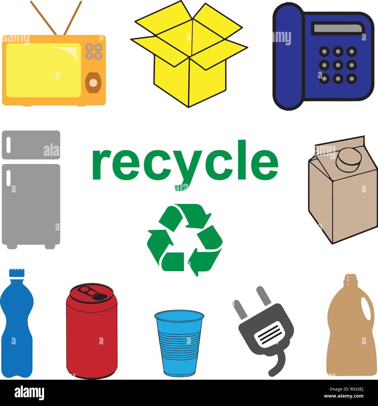 Recycler vecteur conceptuel. Déchets ménagers et électroniques Photo Stock