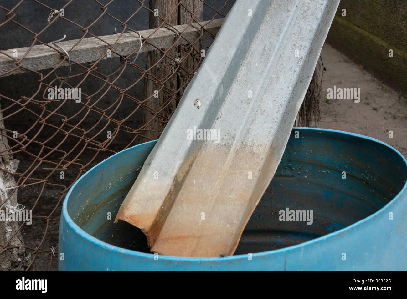 Collecte des eaux dans une ferme. La pénurie d'eau douce dans la région rurale de l'Ukraine. Photo Stock