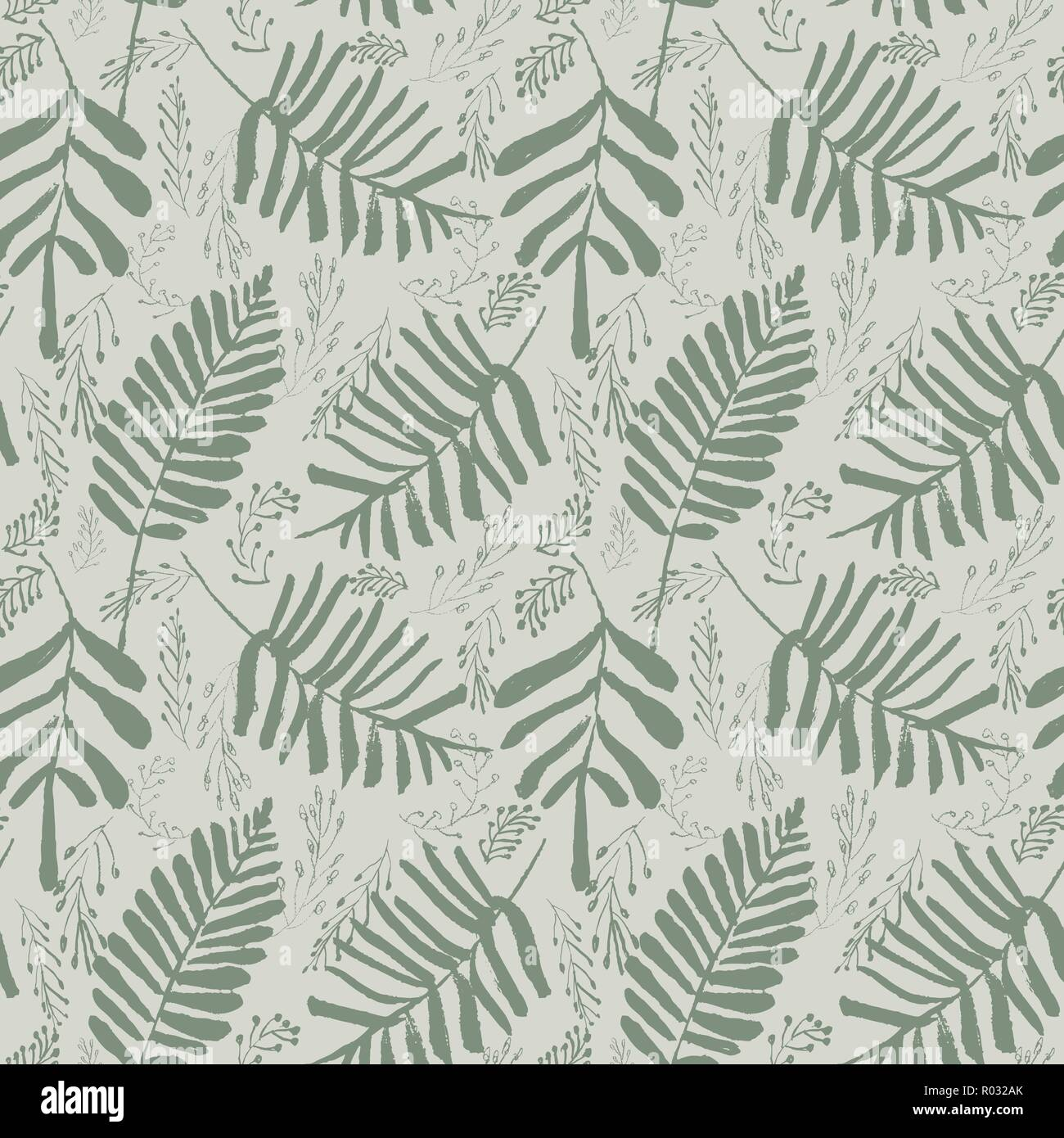 Vert feuilles tropicales vectorielles sophistiquées motif transparent sur fond vert clair. Estival, festif et amusant. Illustration de Vecteur