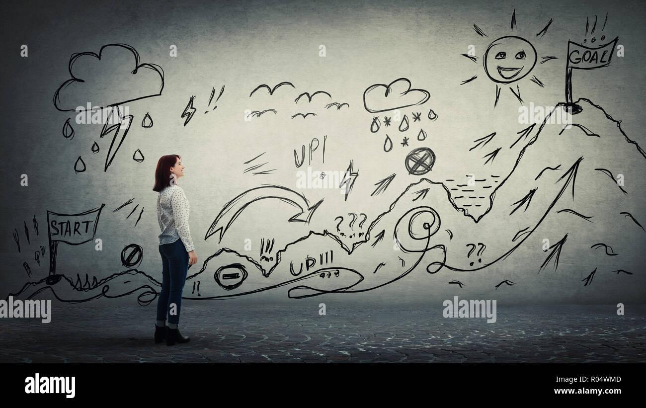 Businesswoman démarrage d'une quête de la vie d'obstacles dessiné sur le mur. Surmonter l'Escalade Randonnée avec des hauts et des bas pour atteindre des objectifs. Difficile roa Photo Stock