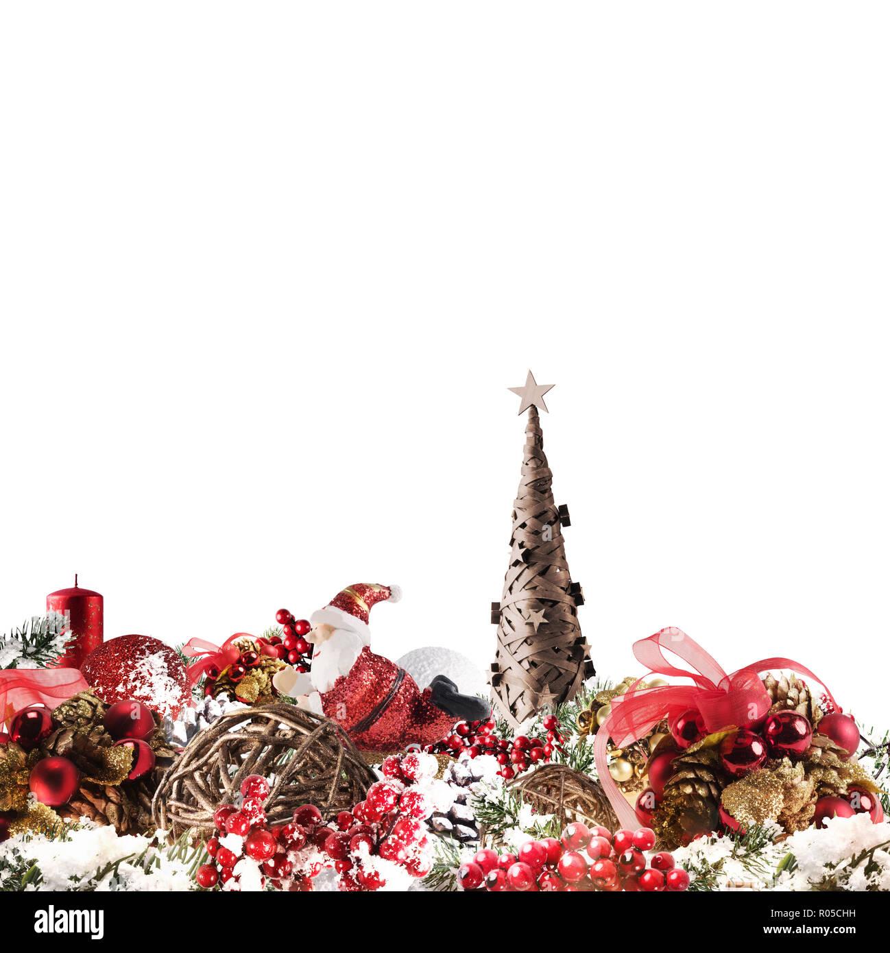 Noël arrière-plan concept. Décorations de Noël brillant avec arbre, Père Noël et des bougies Photo Stock