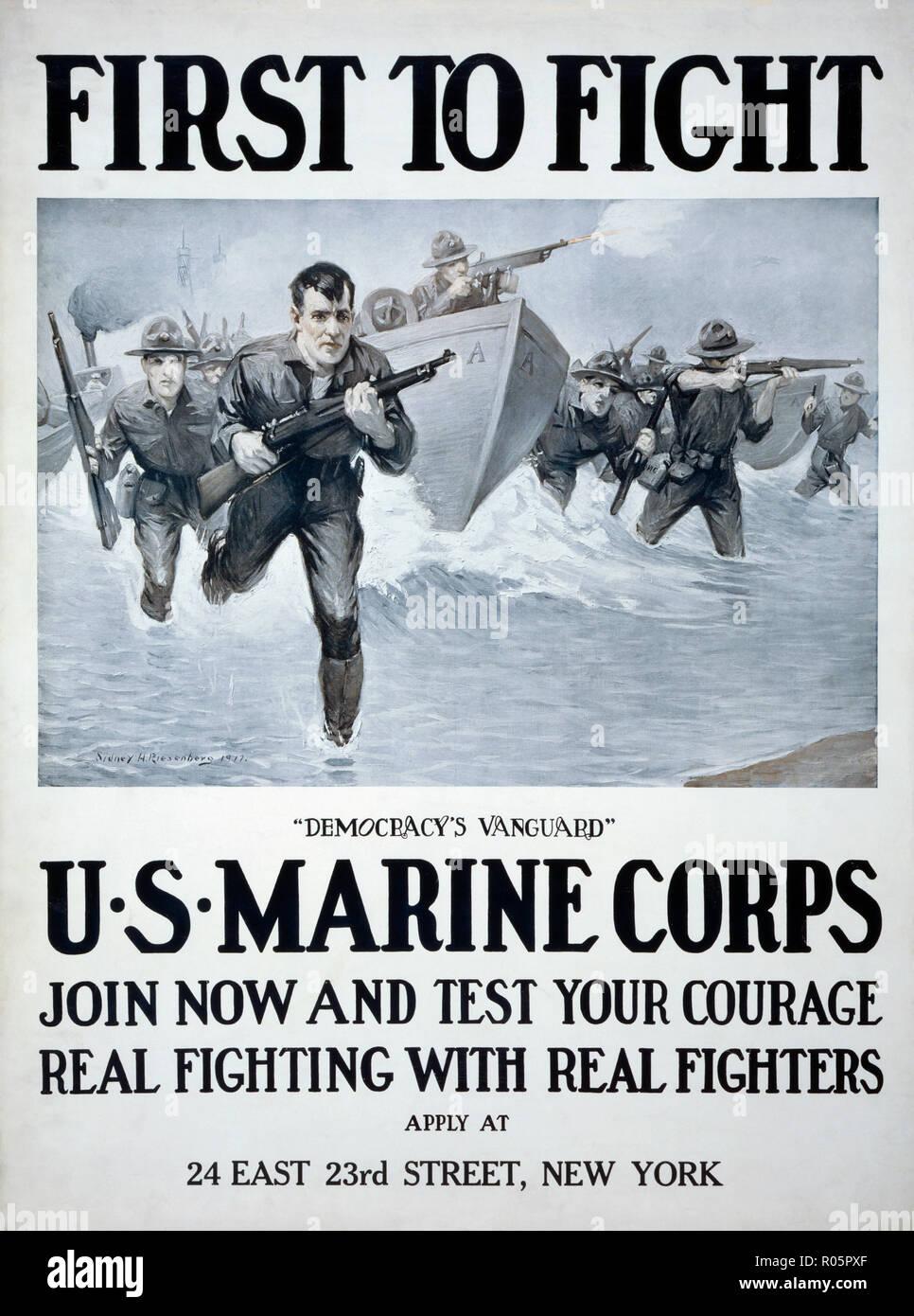 Affiche de recrutement du Corps des Marines américain publié en 1917. Après un travail de l'illustratrice Sidney H. Riesenberg, 1885-1971. Banque D'Images