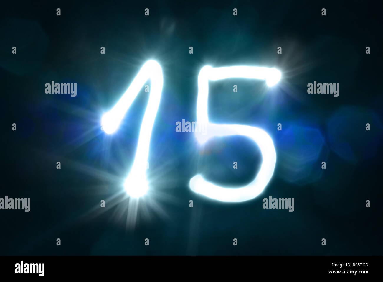 Quinze lumière sparkle shine numéro année anniversaire Photo Stock