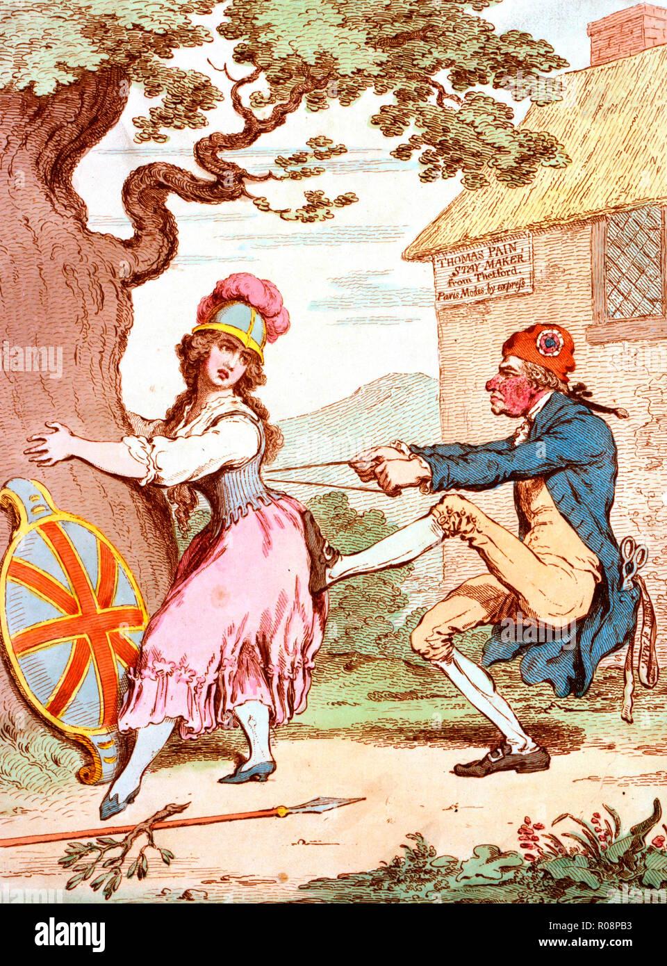 Avant la mode facilité - ou, - une bonne constitution sacrifiés pour une forme Fantastick - Caricature montrant Britannia amplexicaule tronc d'un grand chêne, tandis que Thomas Paine remorqueurs à deux mains à son séjour lacets, son pied sur son postérieur. De sa poche de manteau dépasse d'une paire de ciseaux et d'un ruban inscrit: Droits de l'homme. Derrière lui, c'est une chaumière inscrit: Thomas Paine, Staymaker de Thetford. Paris Modes, par express. Caricature politique, 1793 Photo Stock