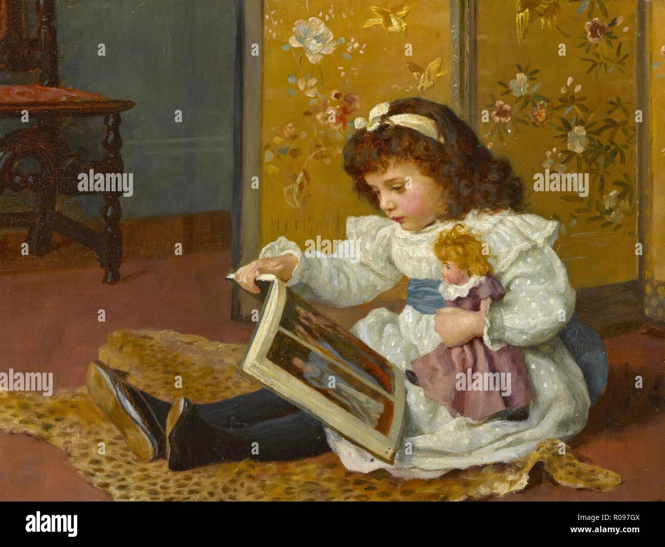 Lecture enfant victorien avec sa poupée. Artiste inconnu. Banque D'Images