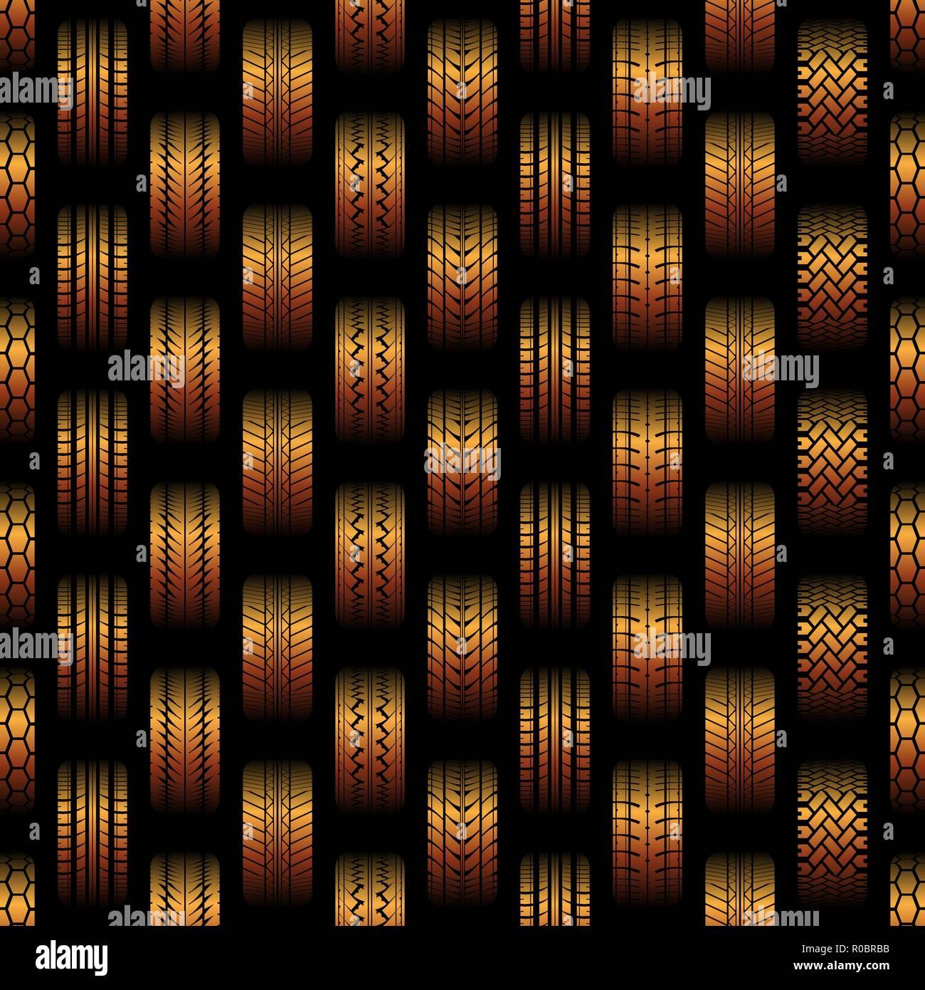 Arrière-plan transparent orange avec des traces de pneus différentes silhouettes Illustration de Vecteur