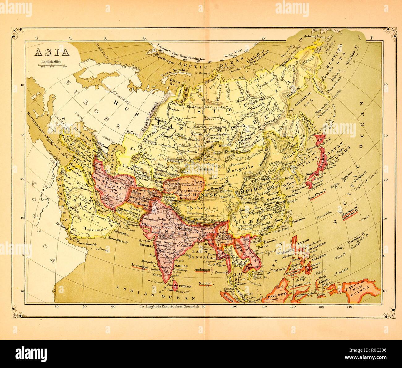 Carte De Linde En 1900.Carte De L Asie Au Debut Des Annees 1900 Banque D Images