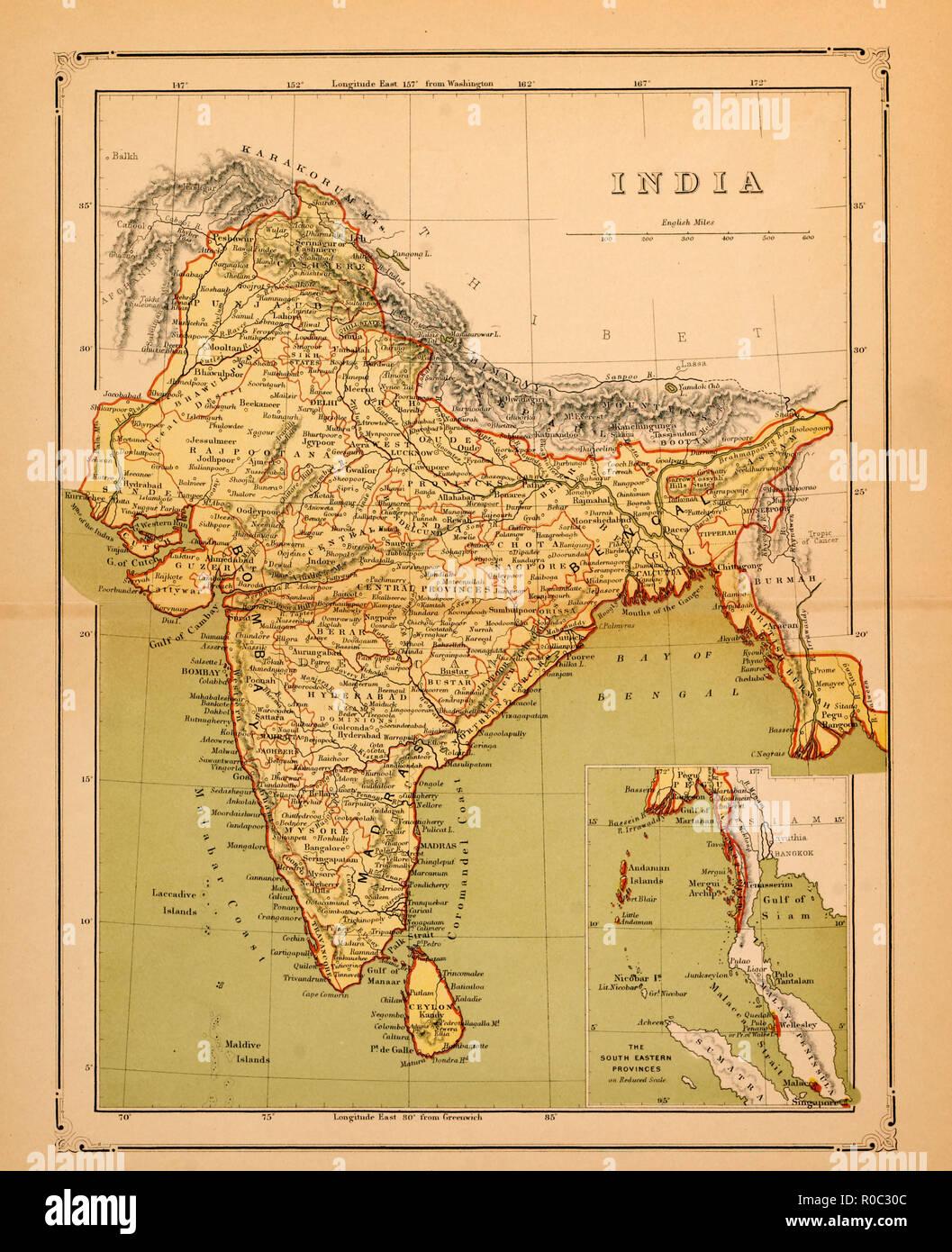 Carte De Linde En 1900.Carte De L Inde Debut De 1900 Banque D Images Photo Stock