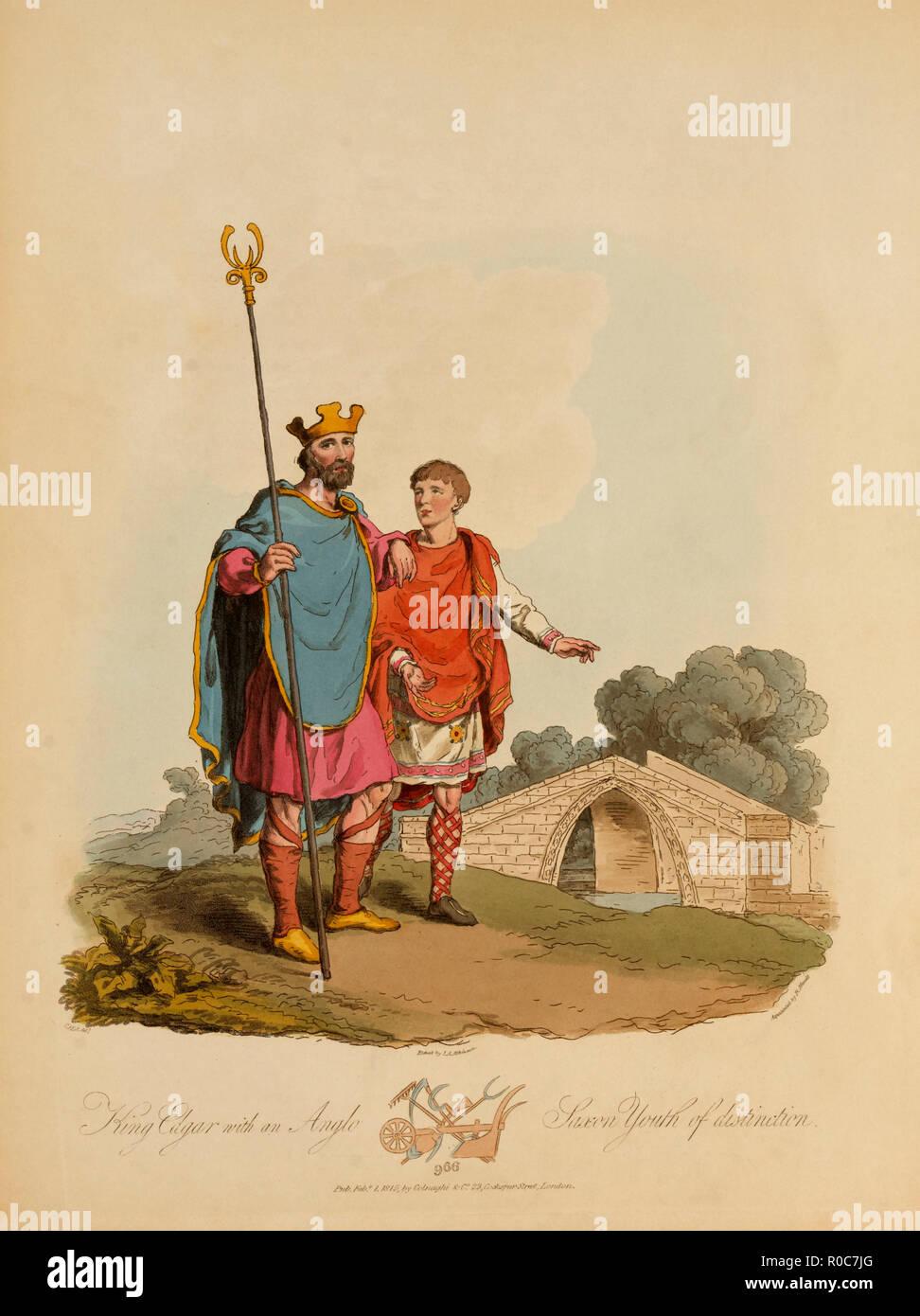 Le roi Edgar avec une distinction de la jeunesse anglo-saxonne, 966, gravure d'I.A. Atkinson, 1815 Photo Stock