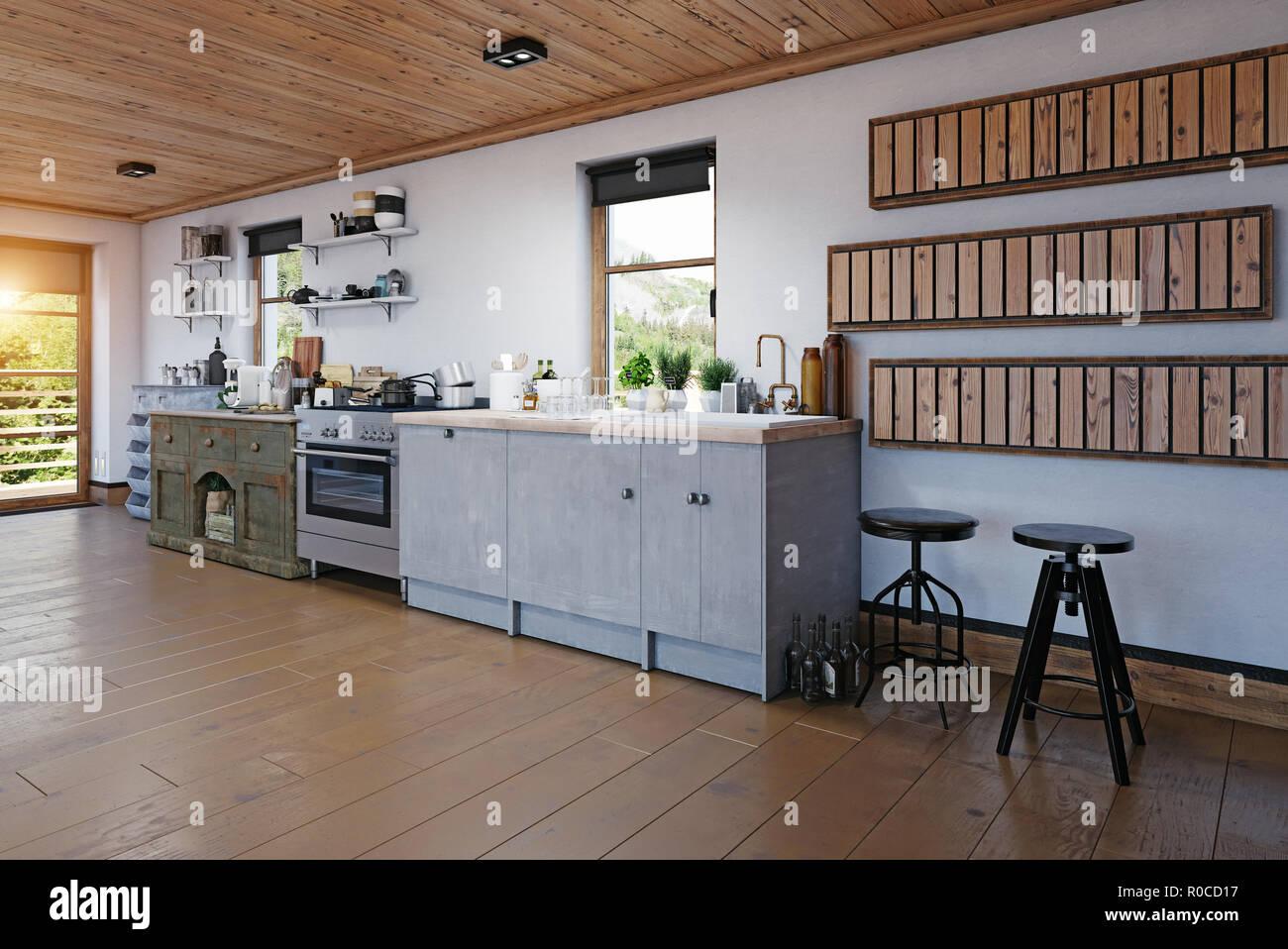 Chalet moderne cuisine intérieur. Le rendu 3D design concept ...