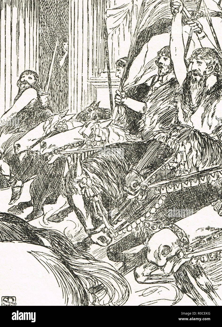 Les Francs à cheval au combat, 5e siècle Photo Stock