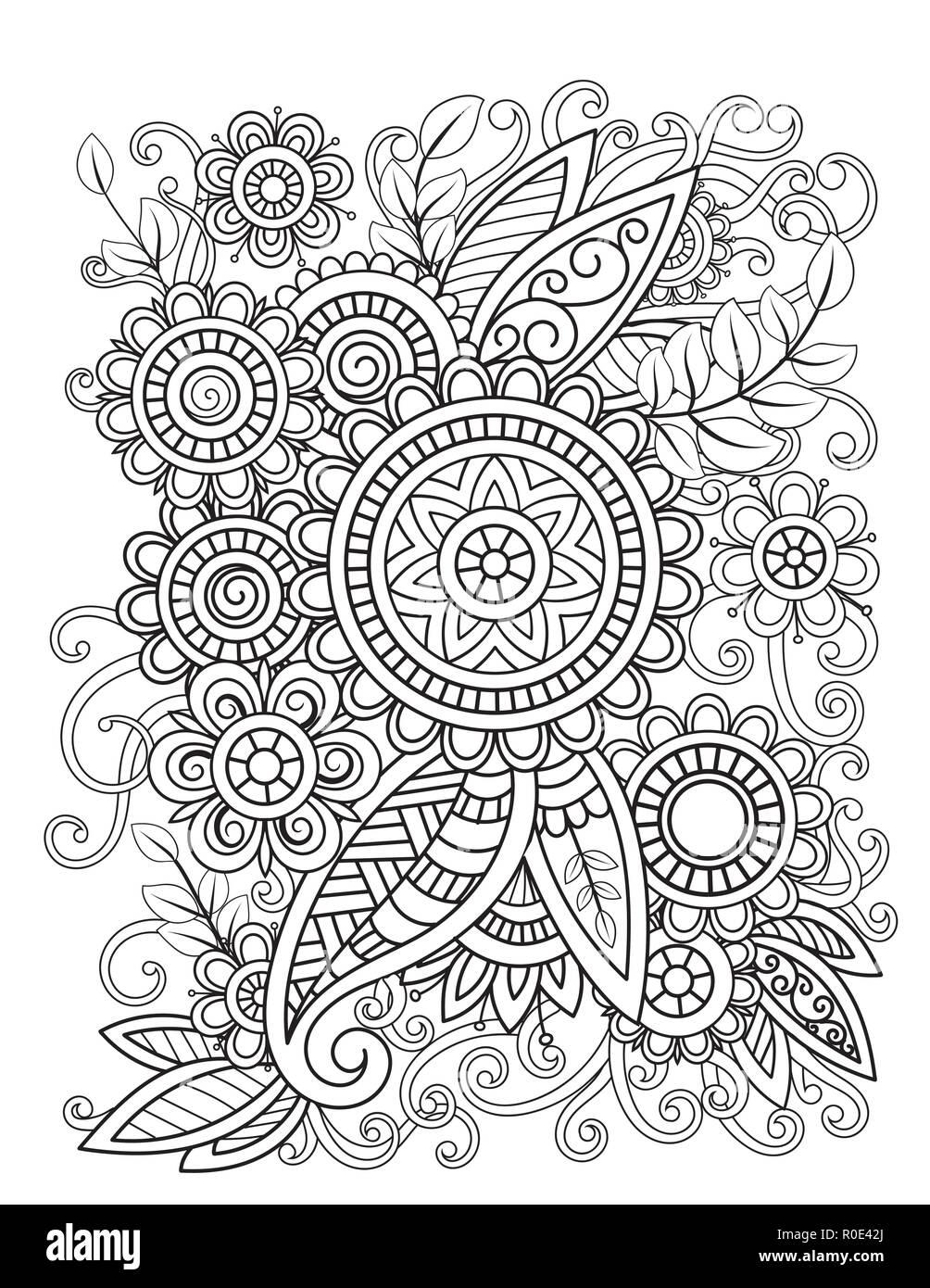Des Profils Coloriage Avec Motif Floral Oriental Noir Et