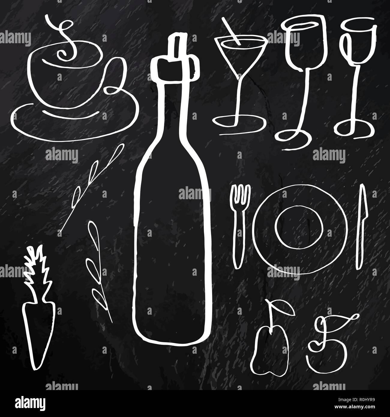 Un ensemble de vecteur de la nourriture et des boissons, les icônes d'art de la ligne à la main, sur un fond noir texture, éléments de conception pour un menu et une carte des vins Illustration de Vecteur