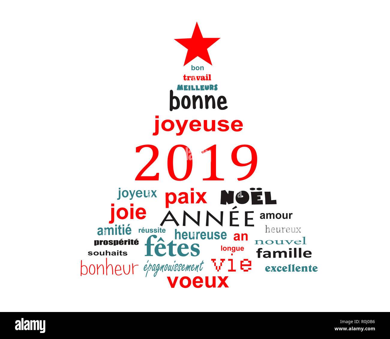 Nouvel An 2019 Carte De Vœux Nuage De Mots En Français Sous La Forme