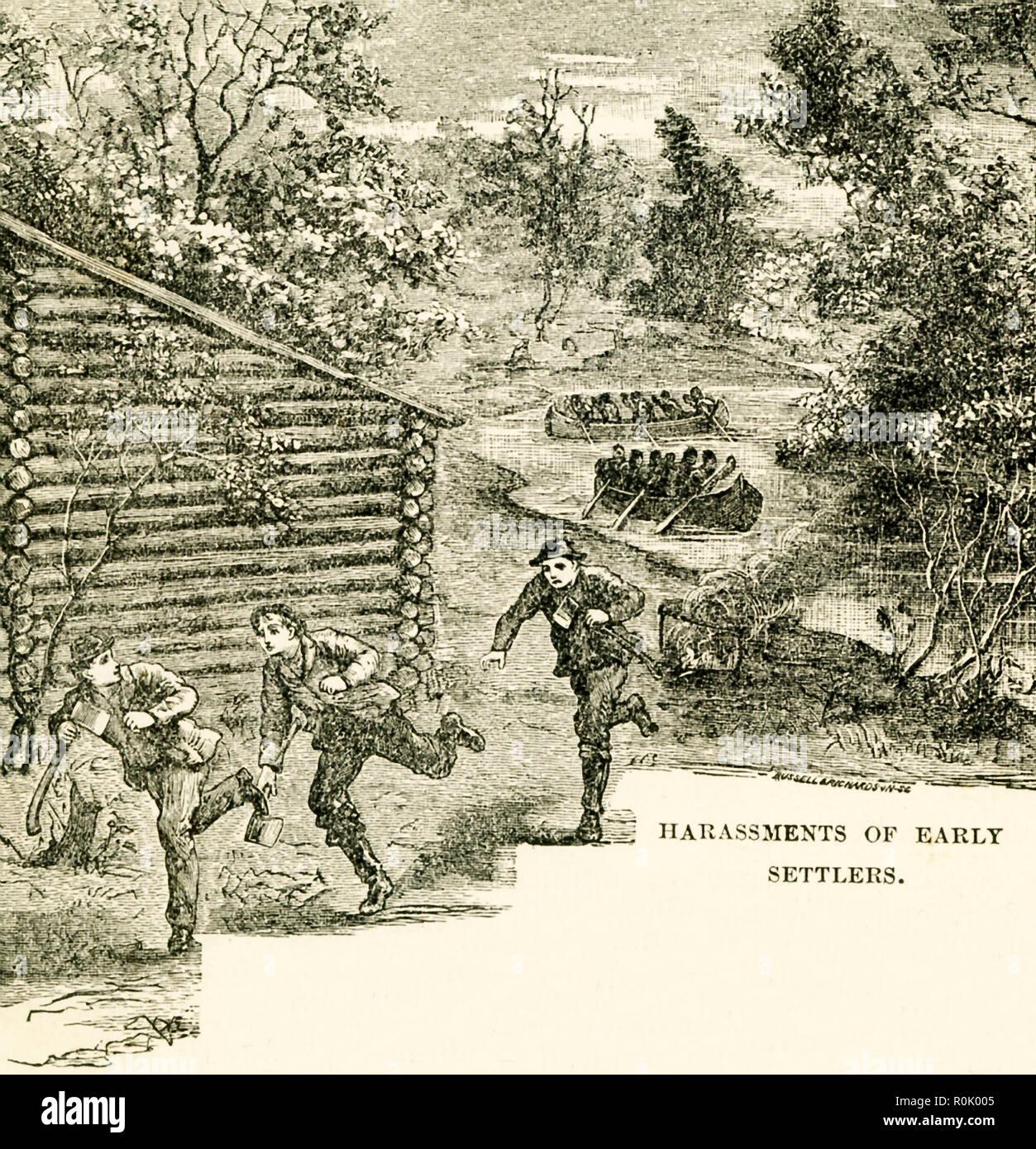 Le sous-titre suivant: Harcèlement des premiers colons. Il détaille les Amérindiens s'attaquer à Boonesborough et autres villes de Kentucky. Cette illustration est tirée du livre intitulé: Histoire de l'Ouest sauvage et feu de camp Chats: En cours de l'histoire authentique et complet des grands héros des plaines de l'Ouest, Wild Bill, Buffalo Bill, Kit Carson, Daniel Boone, Davy Crockett, Sam Houston, et les généraux Crooks, Miles et Custer. Il a été publié pour la première fois en 1888. Cette édition a été publiée en 1902. Photo Stock