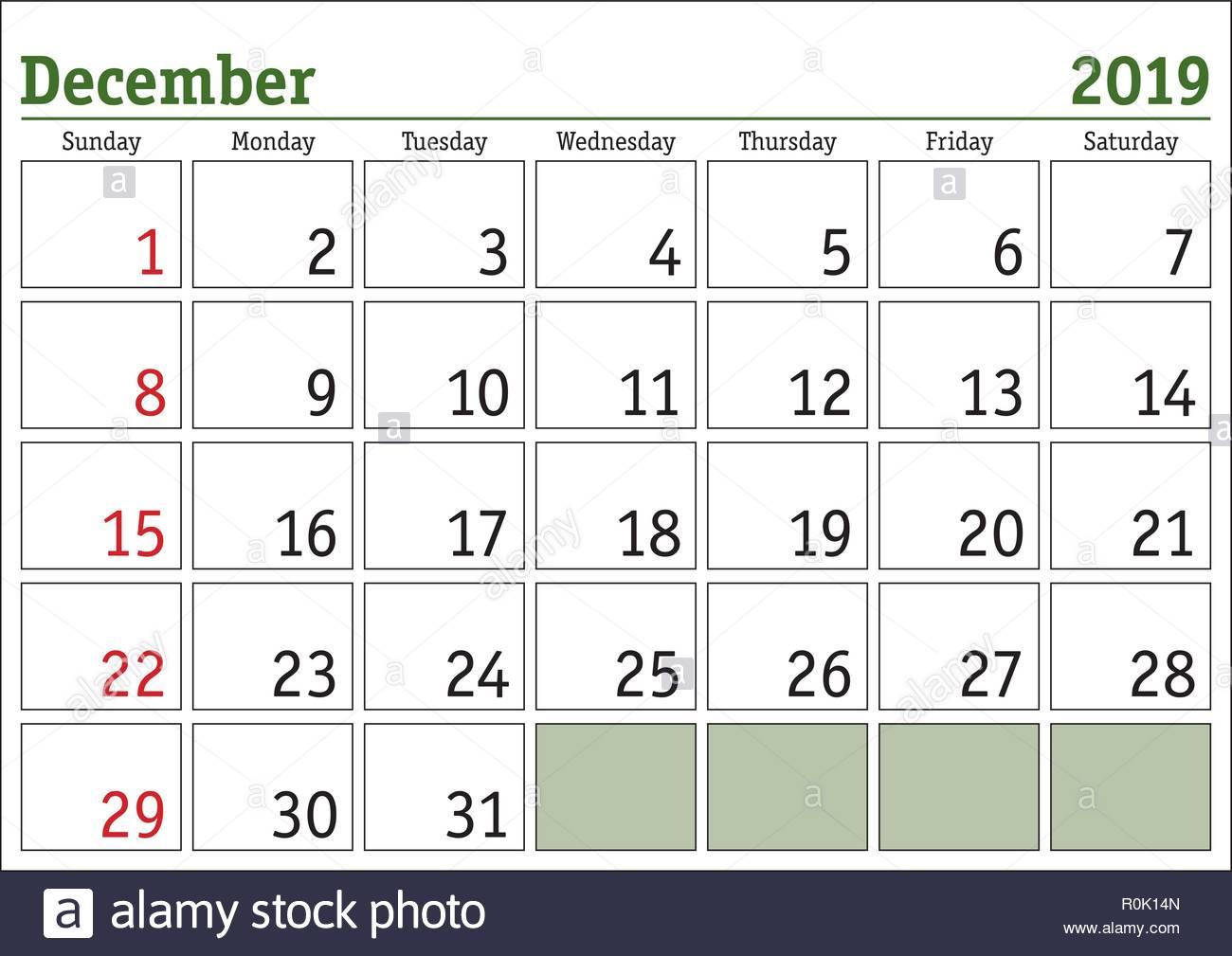 Calendrier Mensuel Decembre 2019.Calendrier Numerique Simple Pour Decembre 2019 Vector