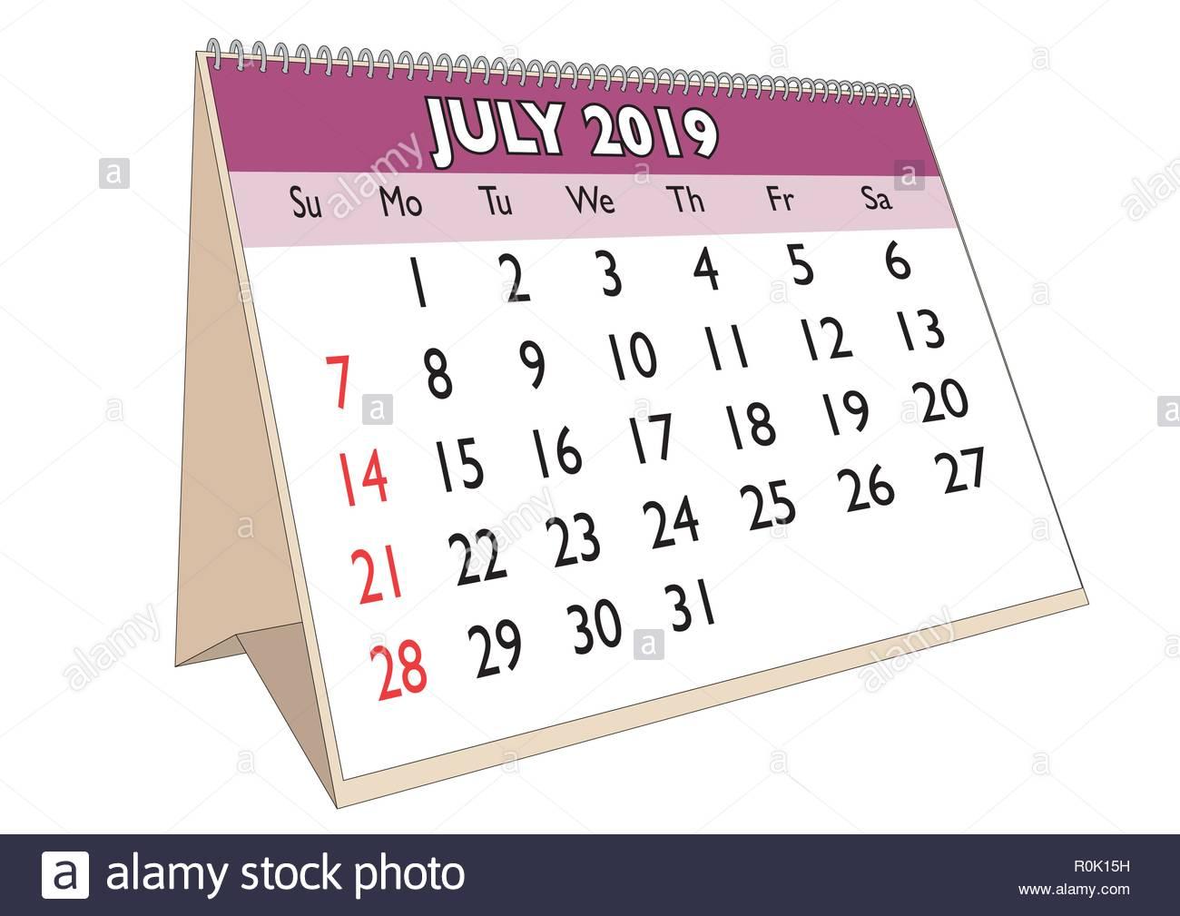 Calendrier Du Mois De Juillet 2019.Le Mois De Juillet 2019 Dans Un Calendrier De Bureau En