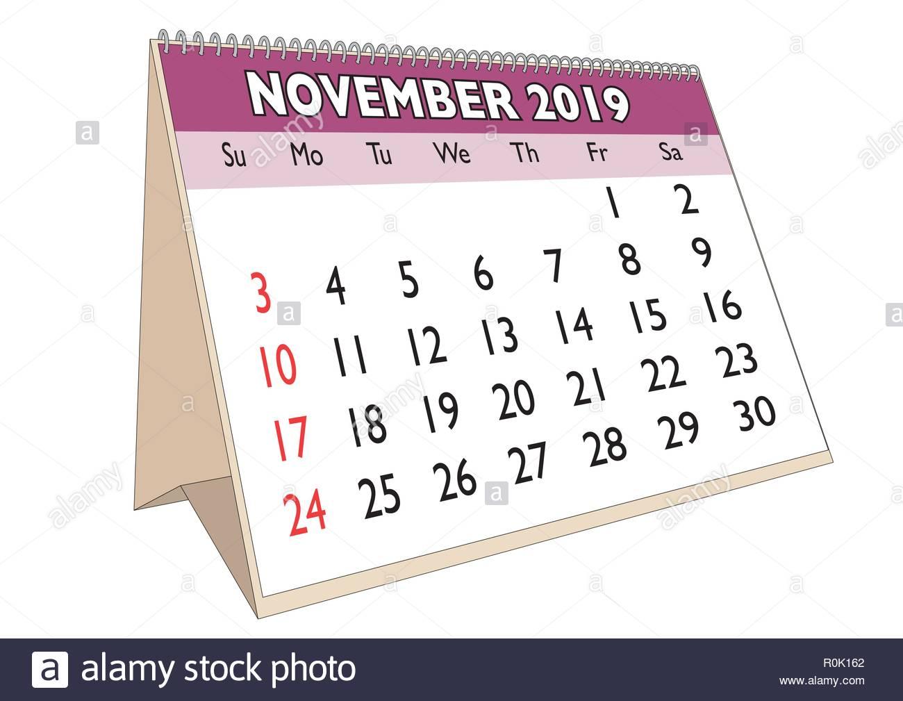 Calendrier Mois De Novembre 2019.Le Mois De Novembre 2019 Dans Un Calendrier De Bureau En
