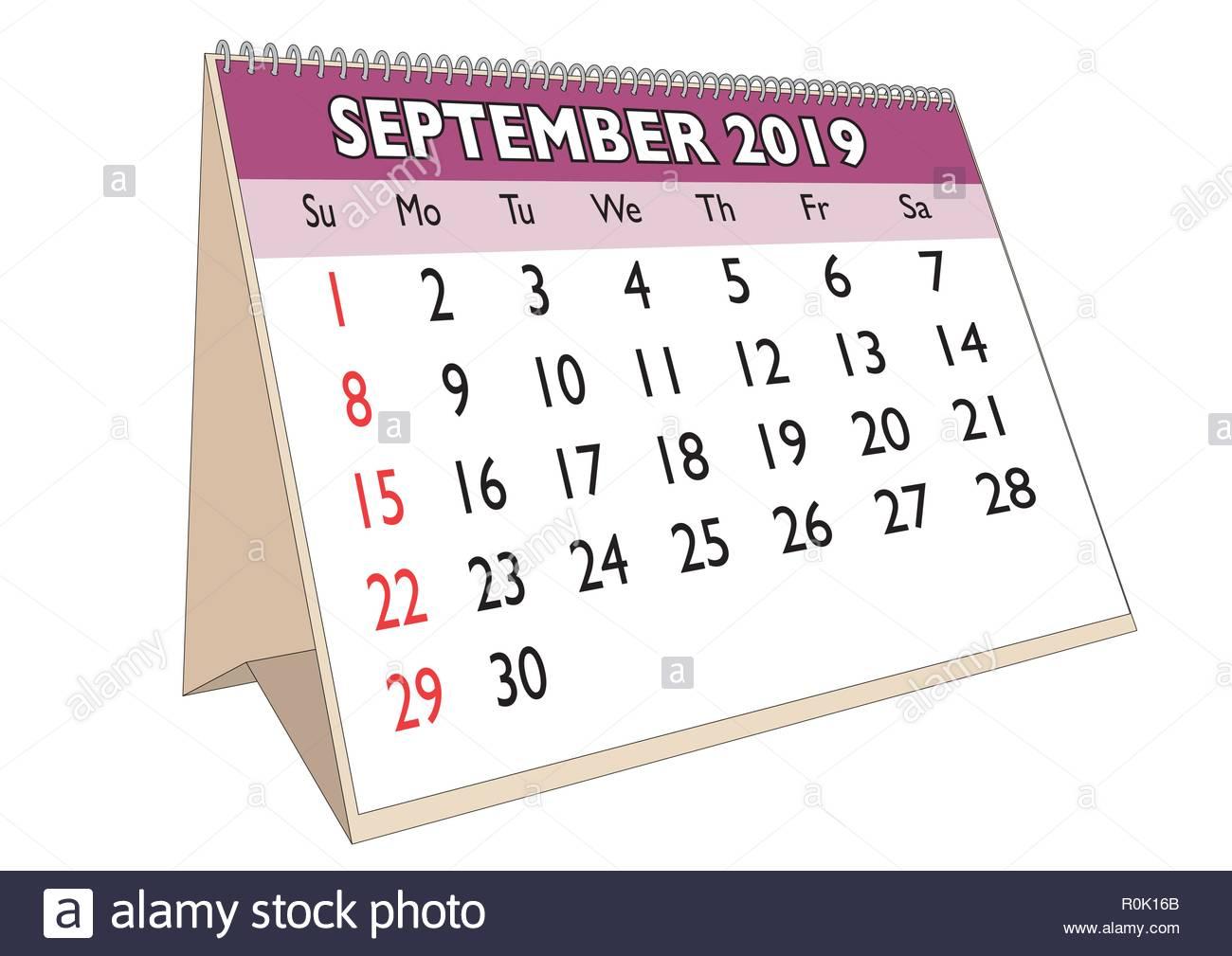Calendrier Mois De Septembre.Le Mois De Septembre 2019 Dans Un Calendrier De Bureau En