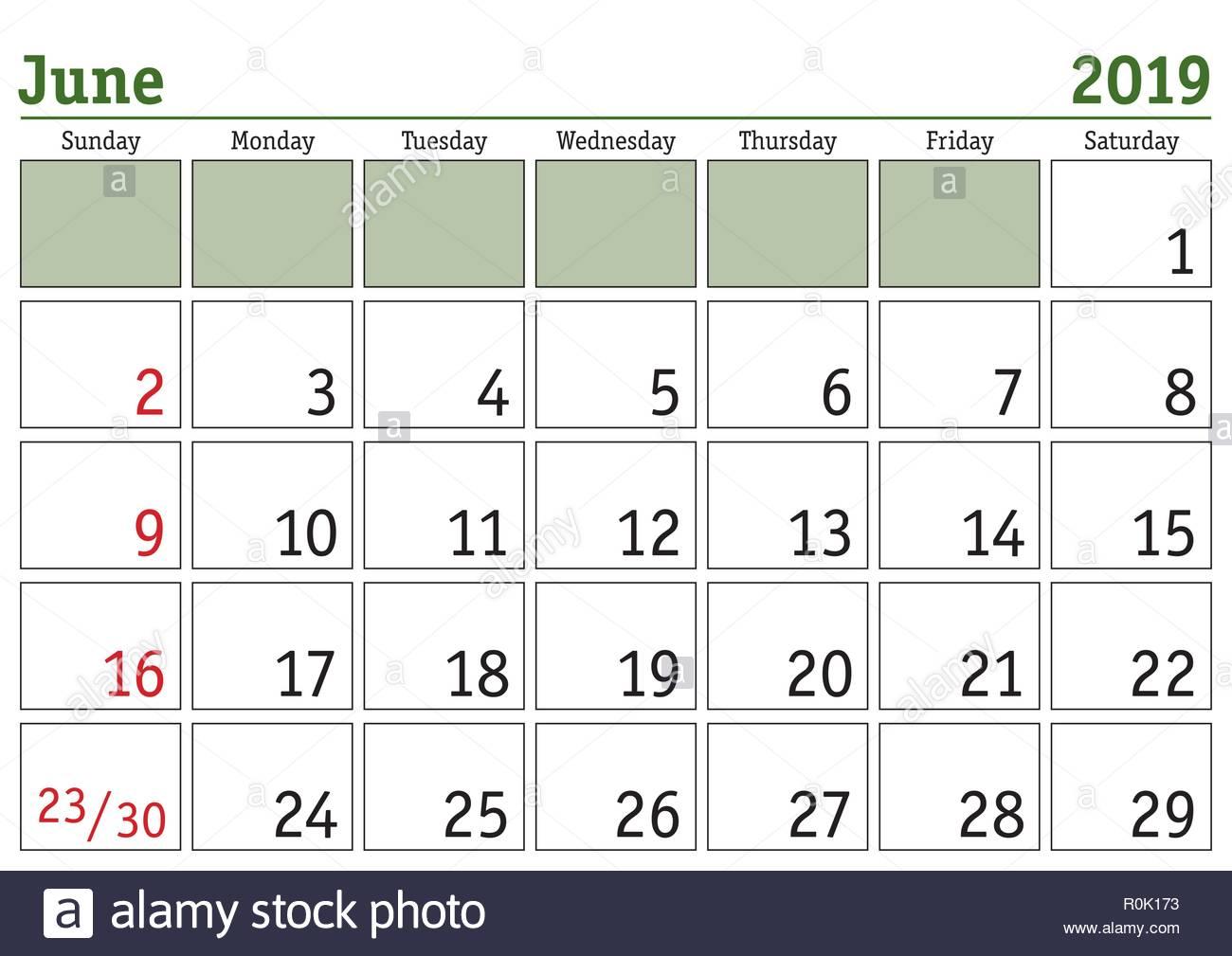 Calendrier Mensuel Juin 2019.Calendrier Numerique Simple Pour Juin 2019 Vector Version