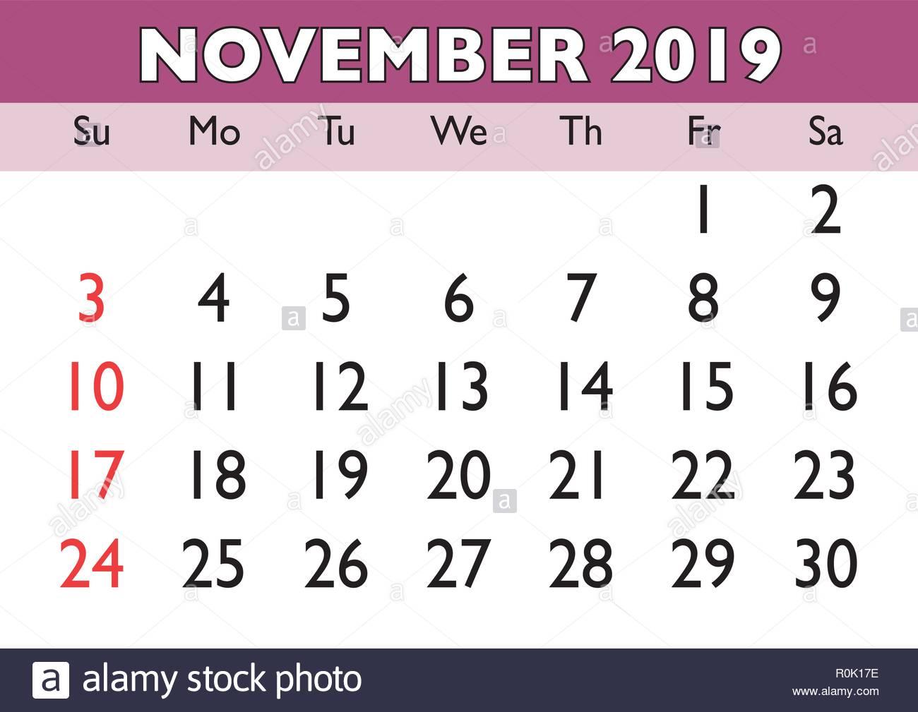 Calendrier Mois De Novembre 2019.Calendrier Mois De Novembre 2019 Vector Version Calendrier