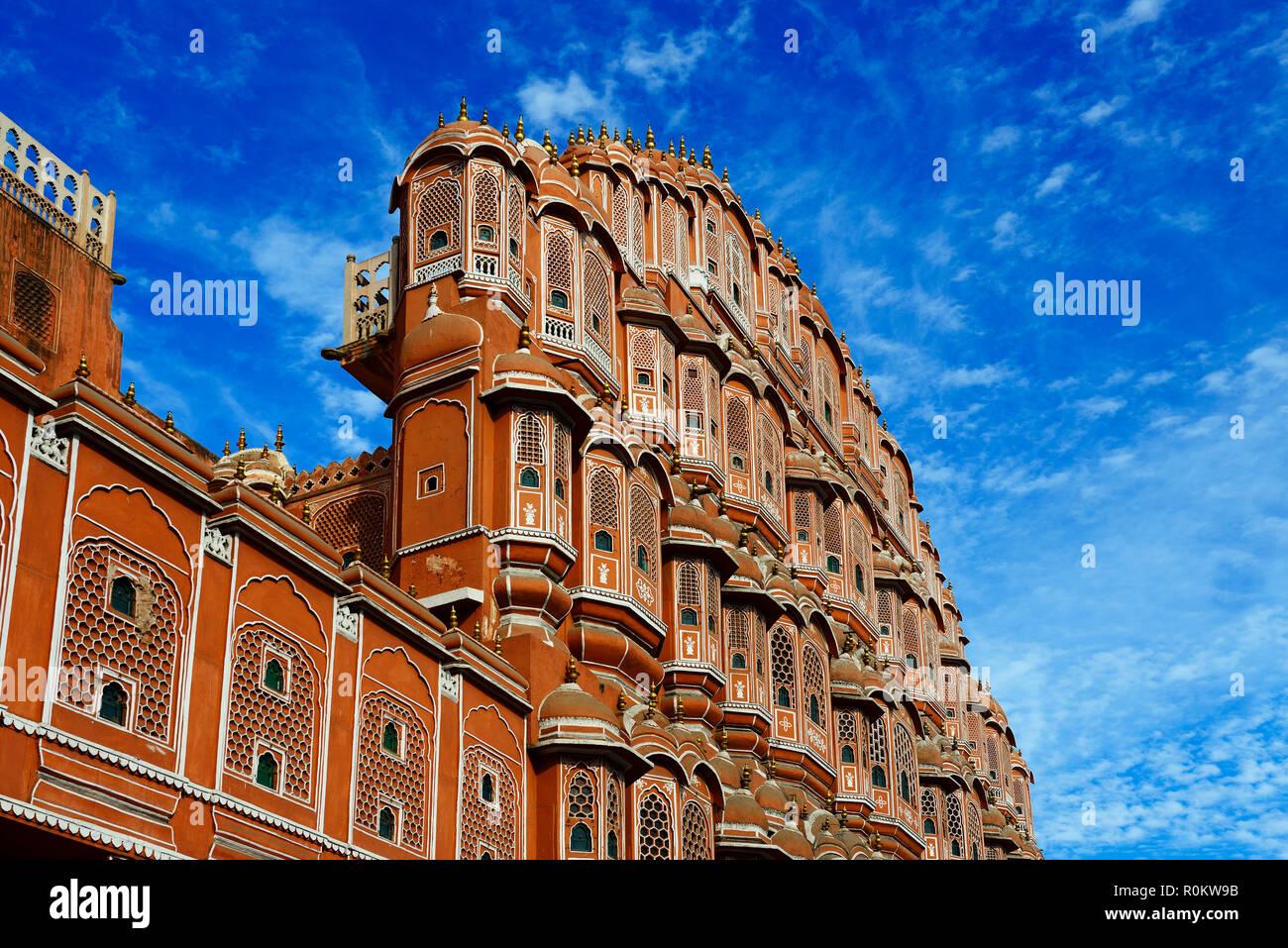 Façade, Hawa Mahal, le palais des vents, Jaipur, Rajasthan, Inde Photo Stock