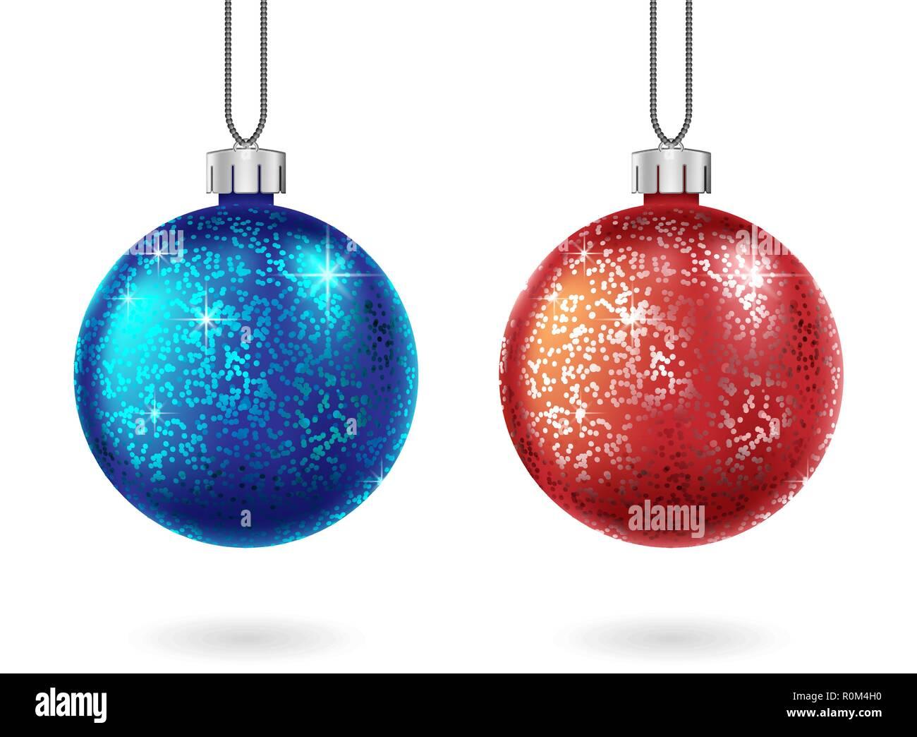 Image Brillante De Noel.Ensemble De Noel Brillante Boule Rouge Et Bleu Isole