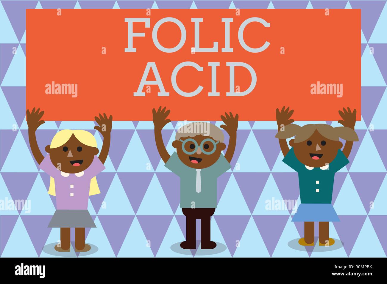 Texte de l'écriture de l'acide folique. Sens Concept Vitamines requise pour la production normale des globules rouges. Photo Stock