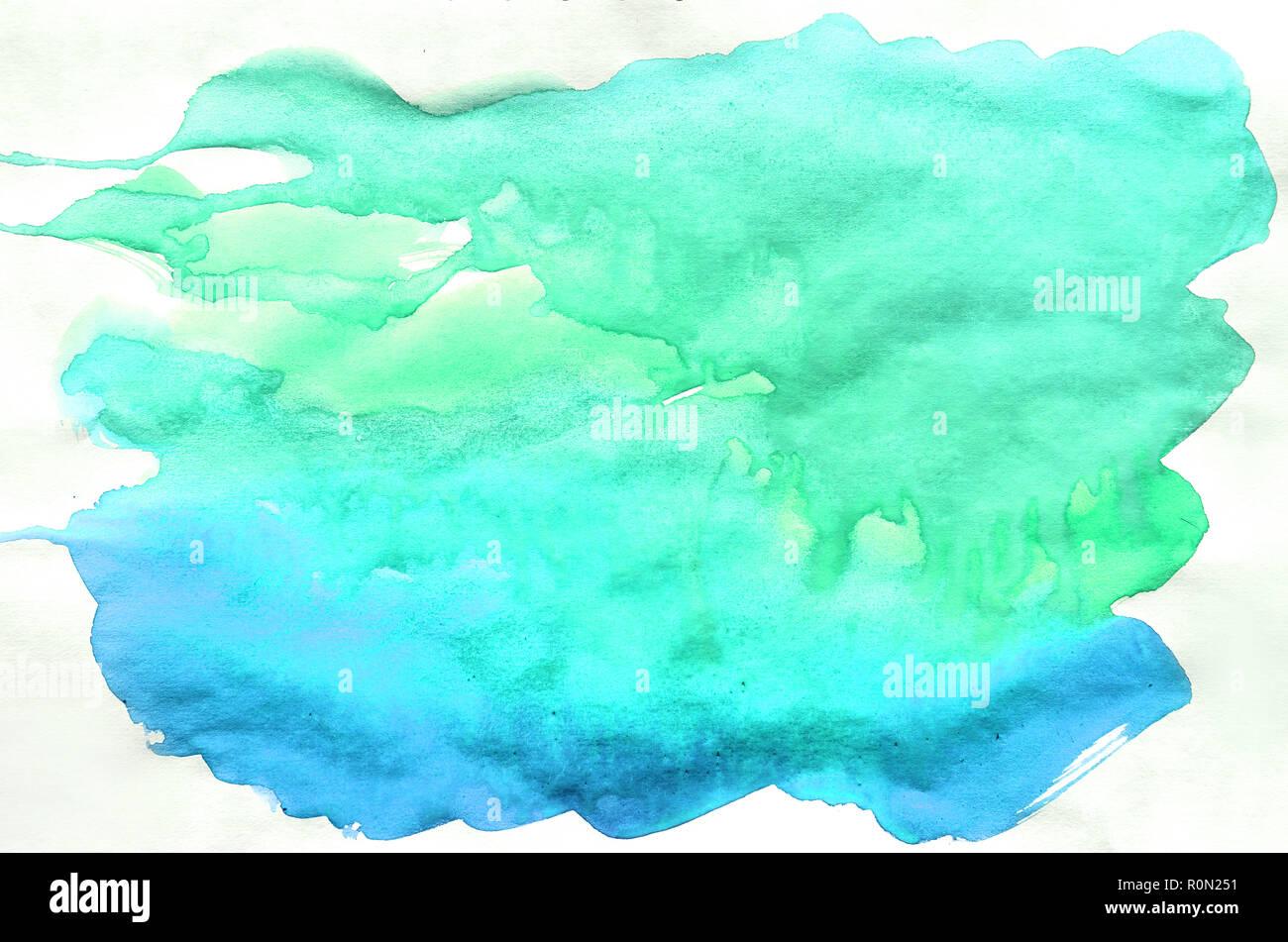 Turquoise Vert Bleu Couleurs Aquarelle Pinceau Humide Peinture
