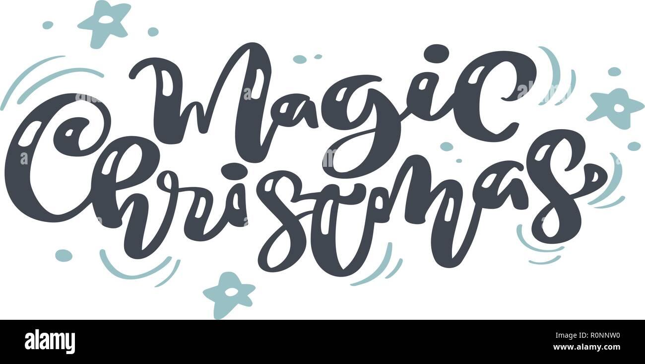 Noël Magique Vintage Lettrage Calligraphie Le Texte