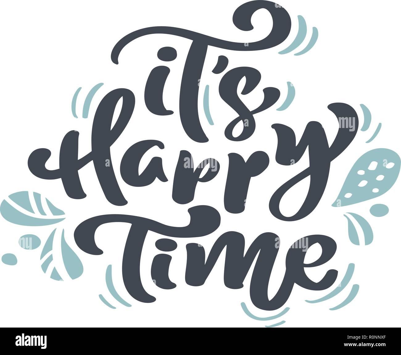 Il S Happy Time Vintage Noël Lettrage Calligraphie Le Texte
