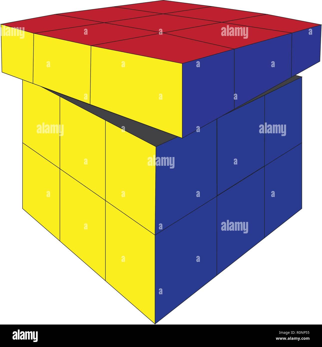 Vecteur de jouet cube Rubik 4X4 square isolé sur fond blanc Illustration de Vecteur