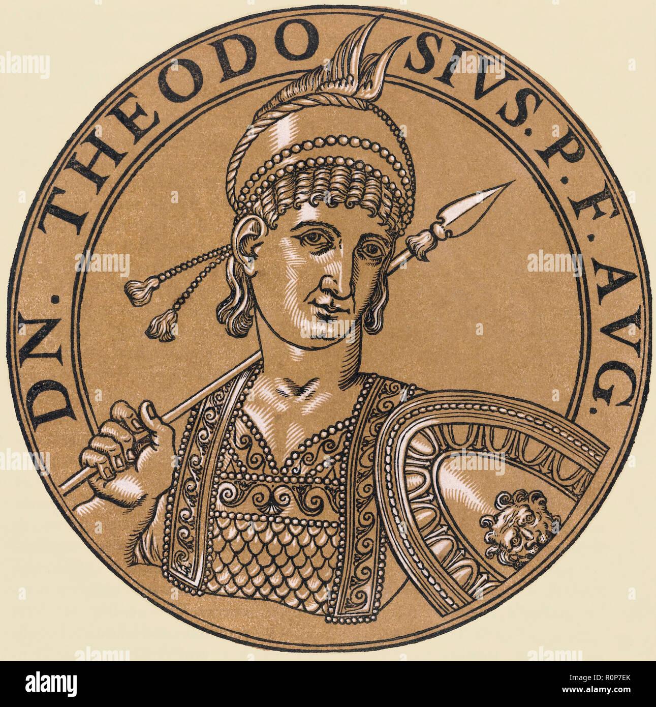 Théodose II ou Anne-franII, 401- 450. L'Est de l'empereur romain. Banque D'Images