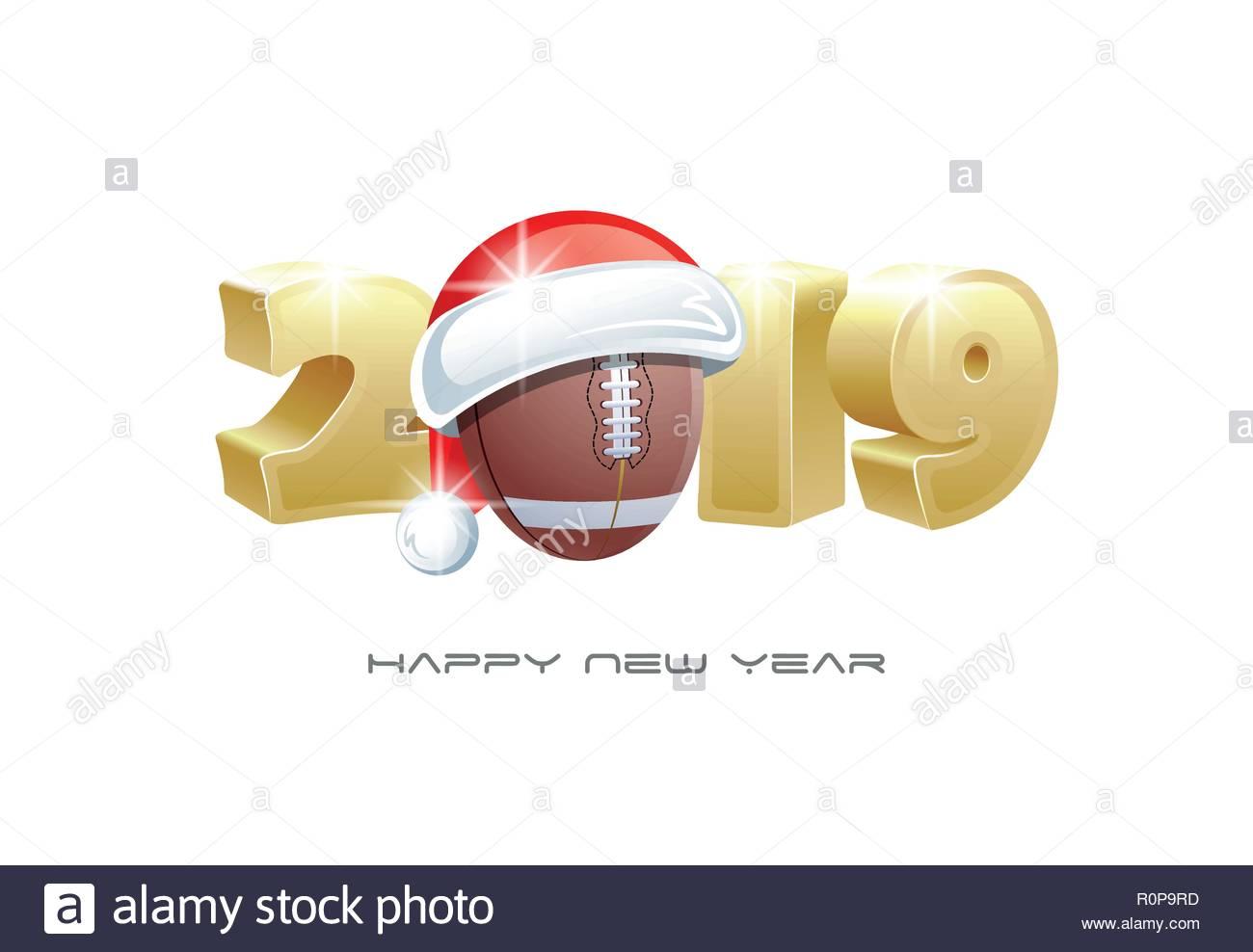 2019 Bonne Annee Carte De Souhaits Sports Avec Ballon De Football