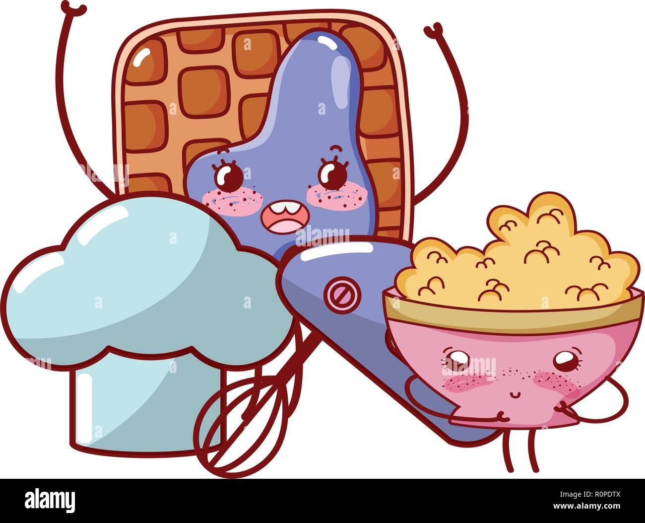 Cuisine Et Nourriture Kawaii Dessins Animés Vecteurs Et Illustration