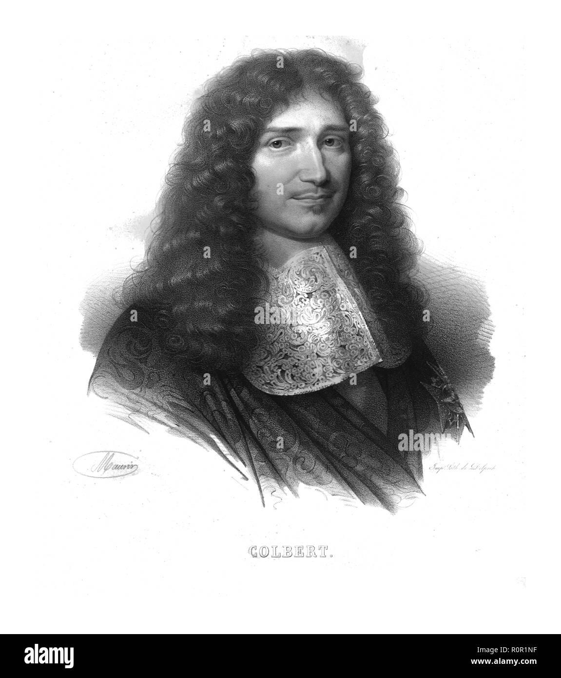 """""""Colbert"""". Portrait d'homme d'État français Jean-Baptiste Colbert (1619-1683), le Ministre en chef. Il a été responsable de la réforme de l'administration financière chaotique et le système d'imposition de la France et a supervisé l'expansion et la modernisation de l'industrie manufacturière. Son succès dans la gestion de l'économie française a été particulièrement remarquable étant donné le penchant du roi pour dépenser la richesse de la nation sur les guerres et le luxe. Colbert a également joué un rôle important dans le développement de la France en tant que puissance navale. Photo Stock"""