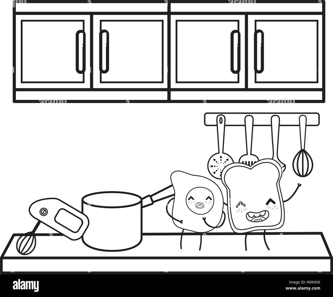 Cuisine Et Nourriture Kawaii Dessins Animes En Noir Et Blanc