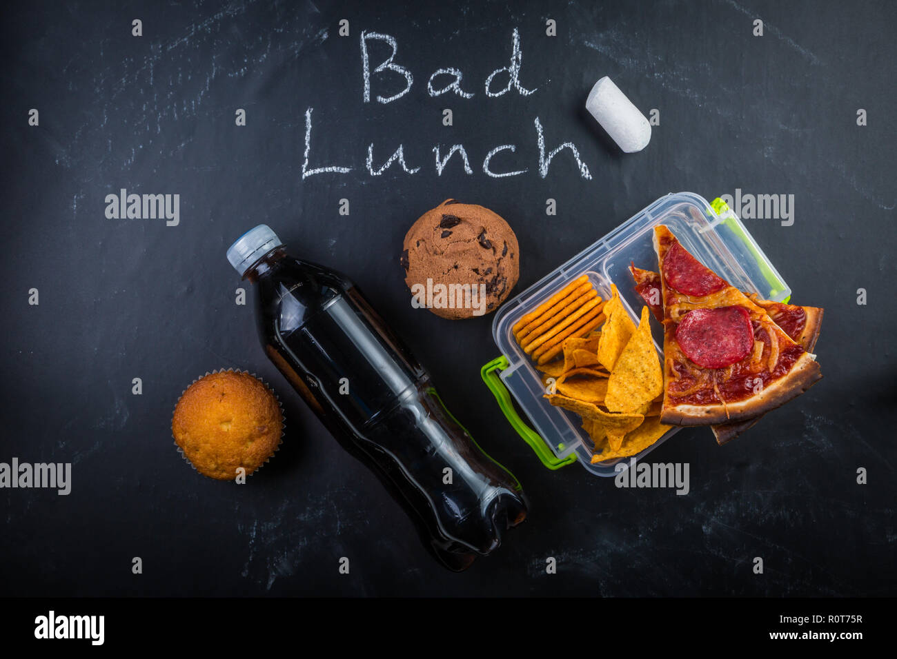Déjeuner à l'école malsain Photo Stock