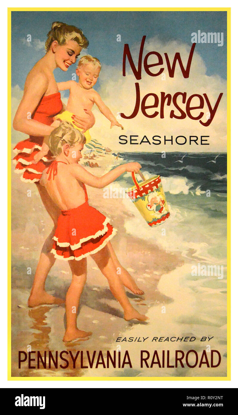 Vintage Retro années 50 Travel Amérique Poster New Jersey Pennsylvania RailRoad avec mer transports USA Photo Stock