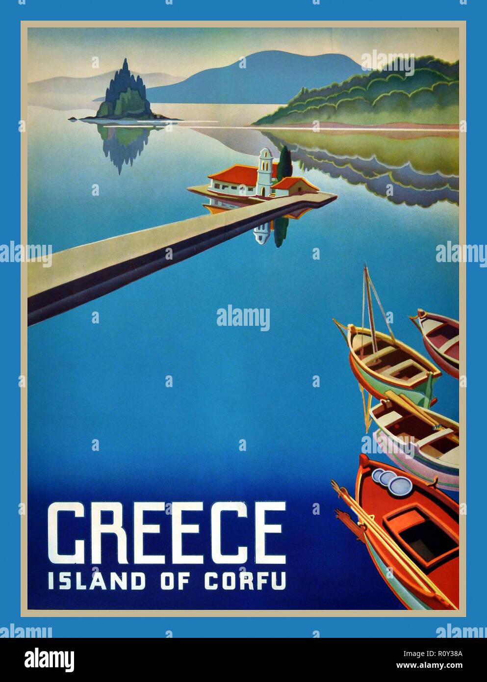 CORFU GRÈCE Vintage Retro 1950 TravelVacation affiche de scène bucolique île grecque de Corfou Grèce Photo Stock