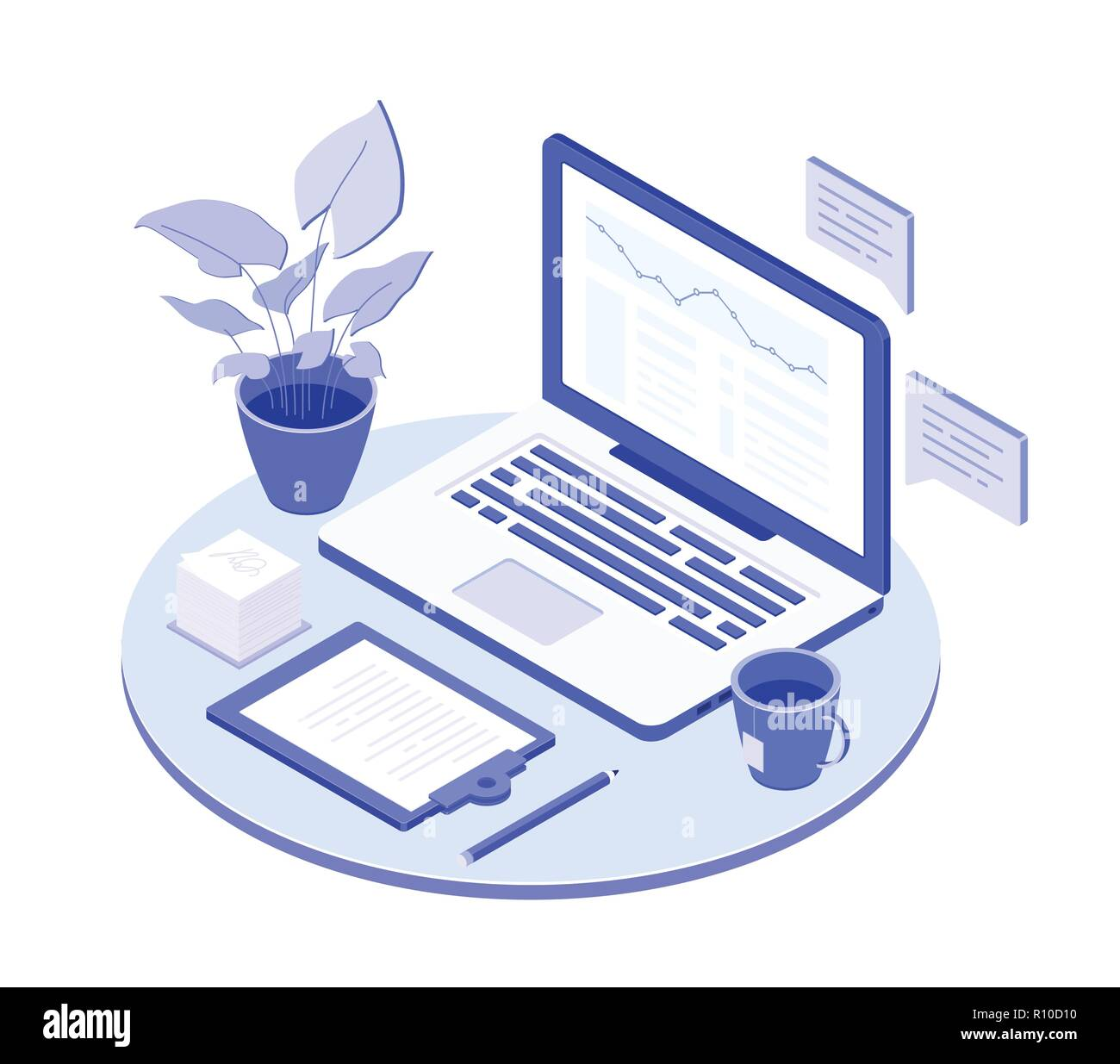 Lieu de travail avec ordinateur portable - vector illustration isométrique moderne Illustration de Vecteur