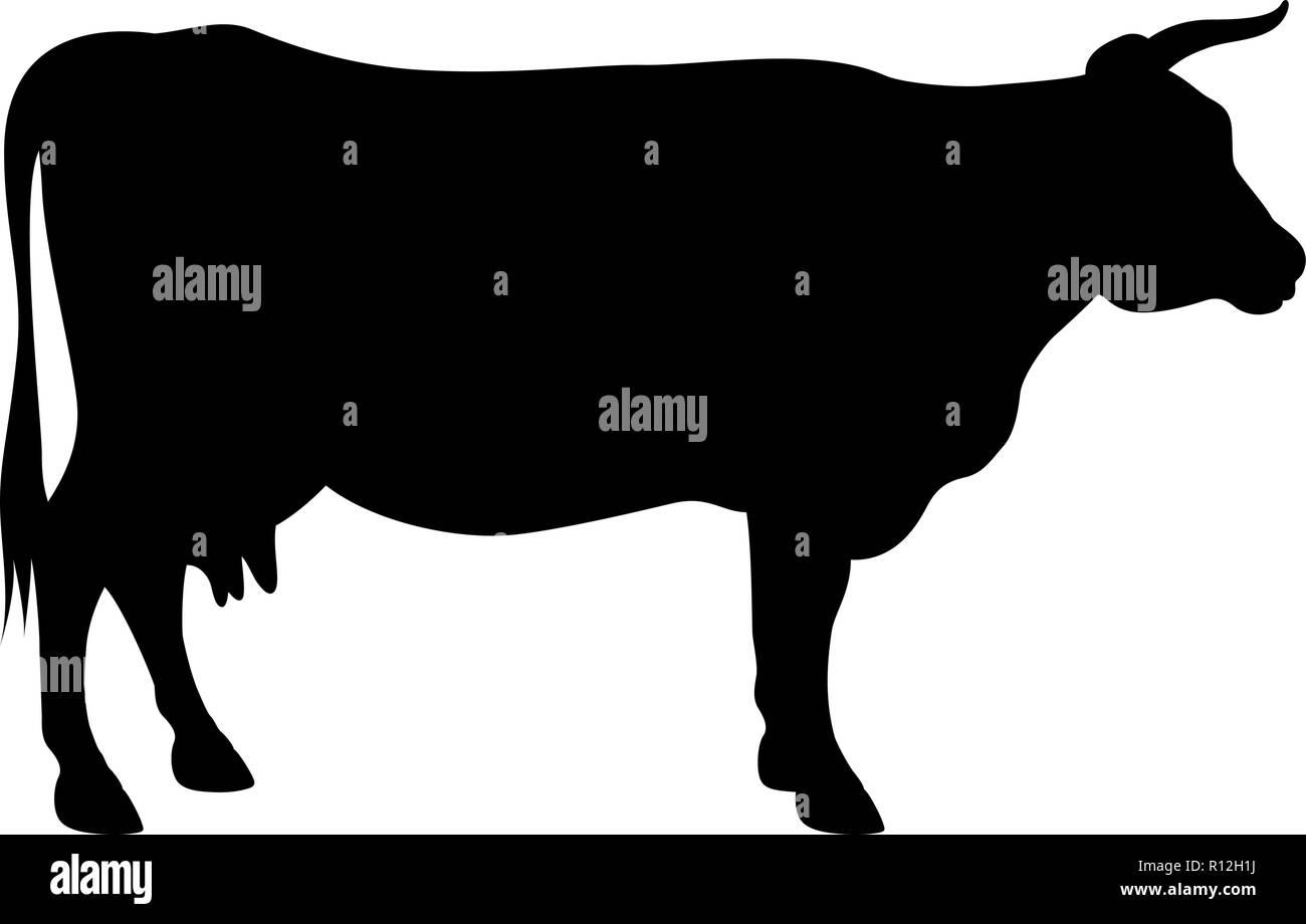 Silhouette vecteur d'une vache isolated on white Photo Stock
