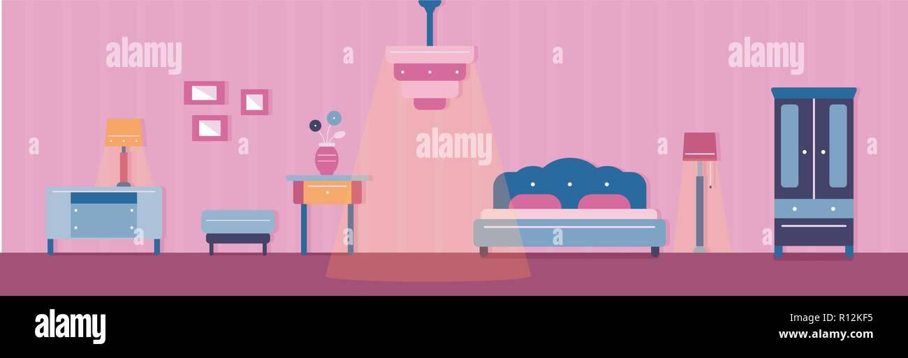 Illustration de la chambre et son mobilier. Couleurs chaudes et ...