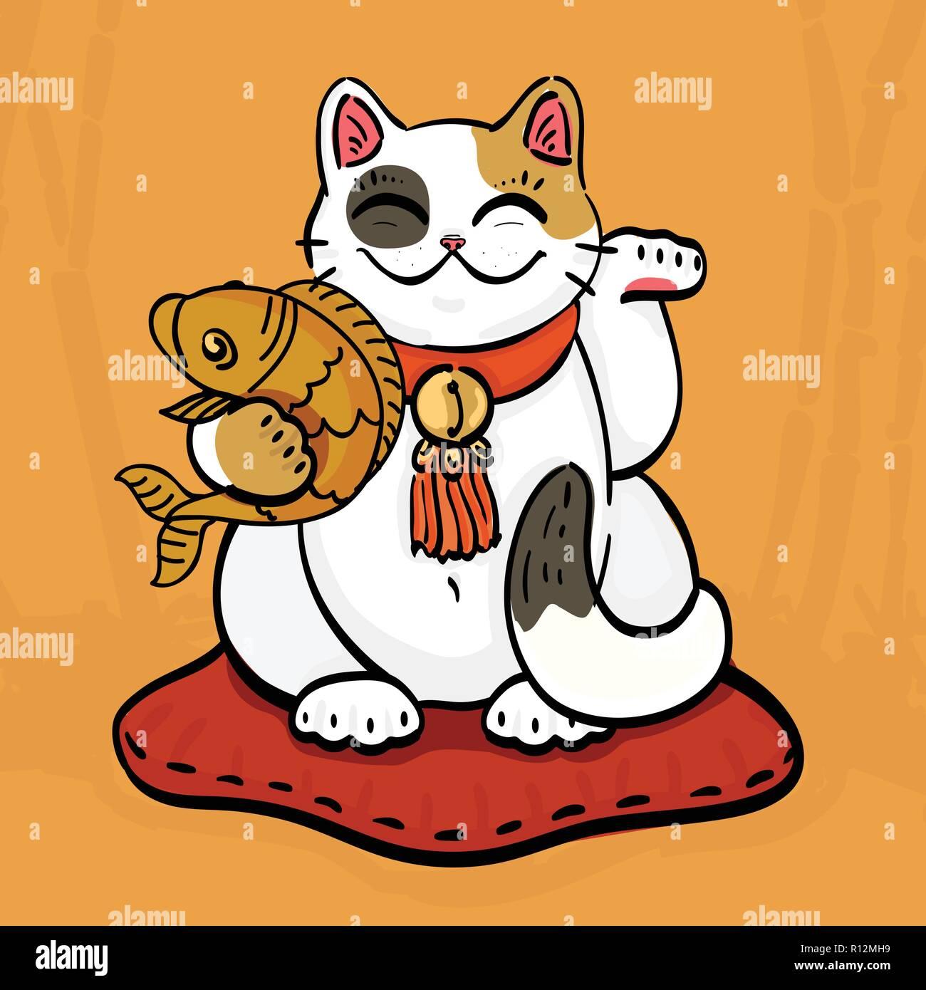 Illustration De Maneki Neko Chat Talisman Signe Richesse